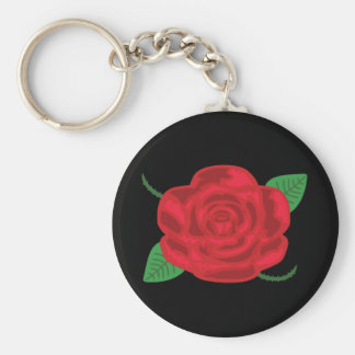 Pretty Red Rose Basic Round Button Key Ring