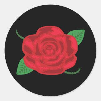 Pretty Red Rose Round Sticker