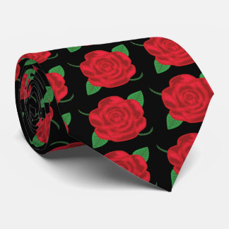 Pretty Red Rose Tie
