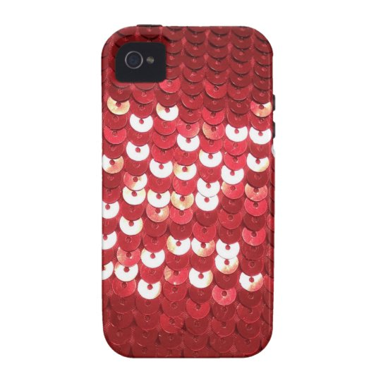 Pretty Red Sequined Fabric iPhone 4 Cover