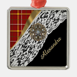 Pretty red tartan plaid and white lace christmas ornament
