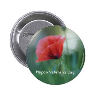 Pretty Red Veterans Day Poppy Pin Back Button