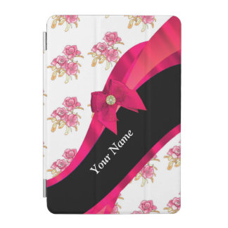 Pretty red vintage floral flower pattern iPad mini cover