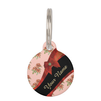 Pretty red vintage floral flower pattern pet ID tag
