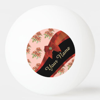 Pretty red vintage floral flower pattern ping pong ball