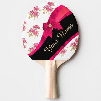 Pretty red vintage floral flower pattern ping pong paddle