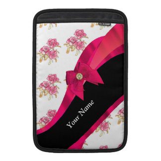 Pretty red vintage floral flower pattern sleeve for MacBook air