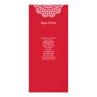 Pretty Red White Lace Pattern Personalised Rack Card