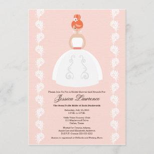 Pretty Redhead Bridal Shower Pink Invitations