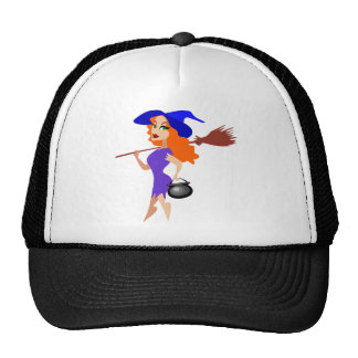 Pretty Redheaded Witch Carrying Broom and Cauldron Trucker Hats