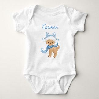 Pretty Reindeer in blue Baby Bodysuit