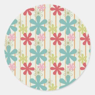 Pretty Retro Colorful Wall Flowers Stripes Pattern Round Sticker