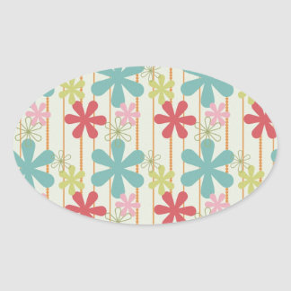 Pretty Retro Colorful Wall Flowers Stripes Pattern Sticker