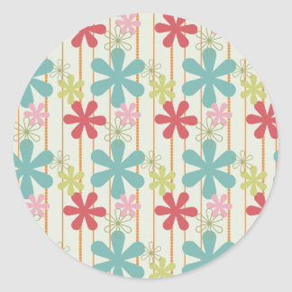 Pretty Retro Colorful Wall Flowers Stripes Pattern Round Stickers