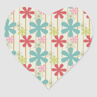 Pretty Retro Colorful Wall Flowers Stripes Pattern Heart Stickers