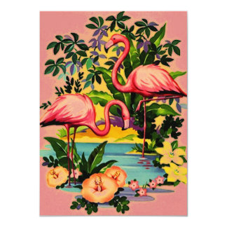 Pretty Retro Flamingos Pool Party Invitations