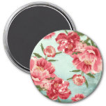 Pretty Retro Flower Chintz Peonies Personalised 7.5 Cm Round Magnet