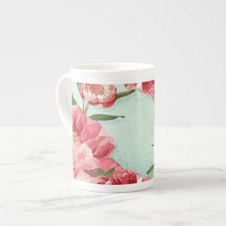 Pretty Retro Flower Chintz Peonies Personalized Tea Cup