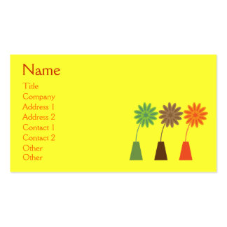 Pretty Retro Flowers In Vase Yellow Custom Pack Of Standard Business Cards