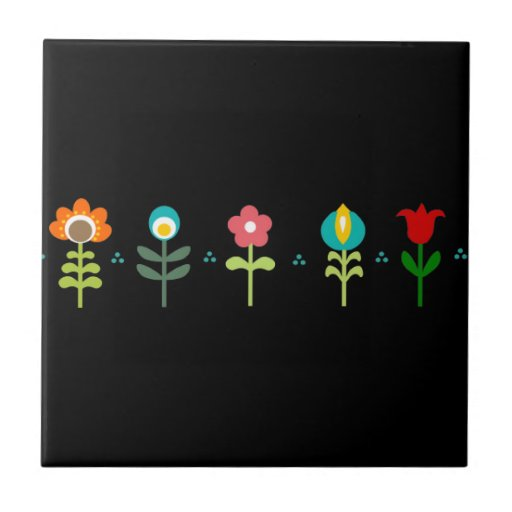 Pretty Retro folk flowers Tiles