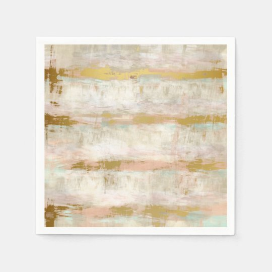 Pretty Retro Vintage Watercolor Stripes Pattern Disposable Napkin