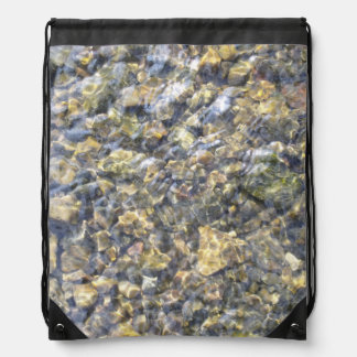 Pretty River Pebbles And Water Drawstring Backpack