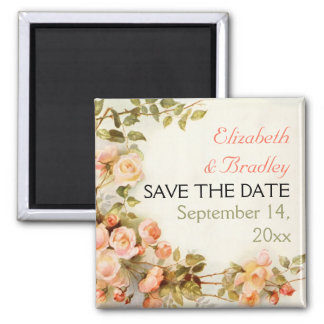 Pretty romantic roses wedding Save the Date Square Magnet