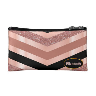 Pretty Rose Gold and Black Chevron Pattern Cosmetic Bags