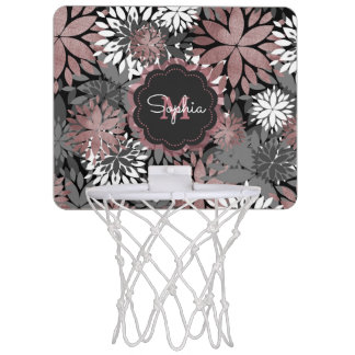 Pretty rose gold floral illustration pattern mini basketball hoop