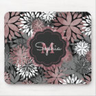 Pretty rose gold floral illustration pattern mouse mat