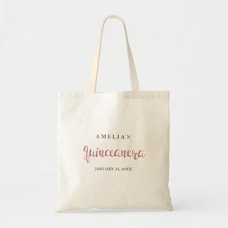 Pretty Rose Gold Quinceanera Tote Bag