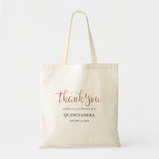Pretty Rose Gold Thank You Quinceanera Tote Bag