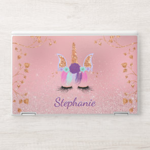 Pretty Rose Gold Unicorn Glitter Monogram HP Laptop Skin