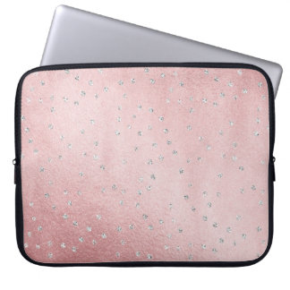 Pretty Rose Shimmer Silver Accents Laptop Sleeve