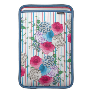 Pretty Roses Floral and Stripe Mix Sleeve For MacBook Air