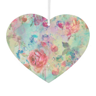Pretty roses floral paint watercolors design car air freshener
