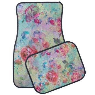 Pretty roses floral paint watercolors design car mat