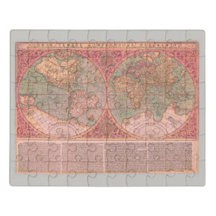 Pretty Rosy Pink Vintage World Map in Latin Jigsaw Puzzle