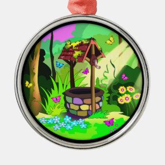 Pretty Round Wishing Well Ornament