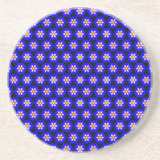 Pretty Royal Blue Morning Glory Floral Pattern Coaster