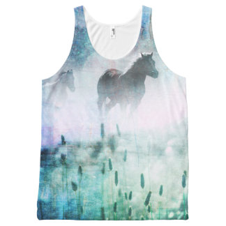 Pretty Rustic Blue Dawn Galloping Horse All-Over Print Tank Top
