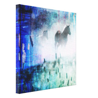 Pretty Rustic Blue Dawn Galloping Horse Canvas Print