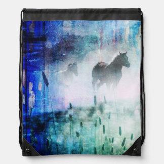Pretty Rustic Blue Dawn Galloping Horse Drawstring Bag