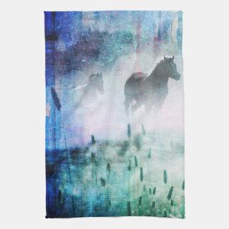 Pretty Rustic Blue Dawn Galloping Horse Hand Towels