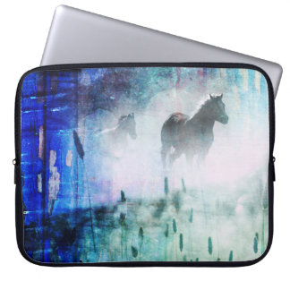 Pretty Rustic Blue Dawn Galloping Horse Laptop Computer Sleeve
