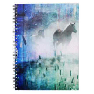 Pretty Rustic Blue Dawn Galloping Horse Notebooks
