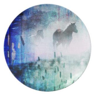Pretty Rustic Blue Dawn Galloping Horse Plate