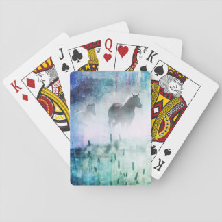 Pretty Rustic Blue Dawn Galloping Horse Playing Cards