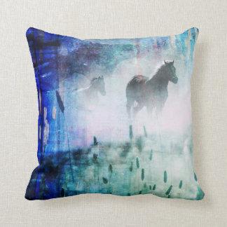 Pretty Rustic Blue Dawn Galloping Horse Throw Pillow