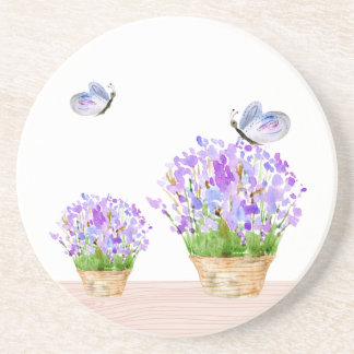 Pretty Rustic Floral and Butterflies Coaster